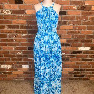 Calvin Klein Blue Floral Halter Maxi Dress 8